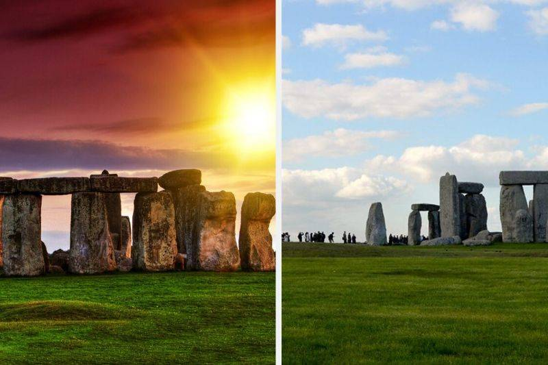 stone henge sunset compared to real life