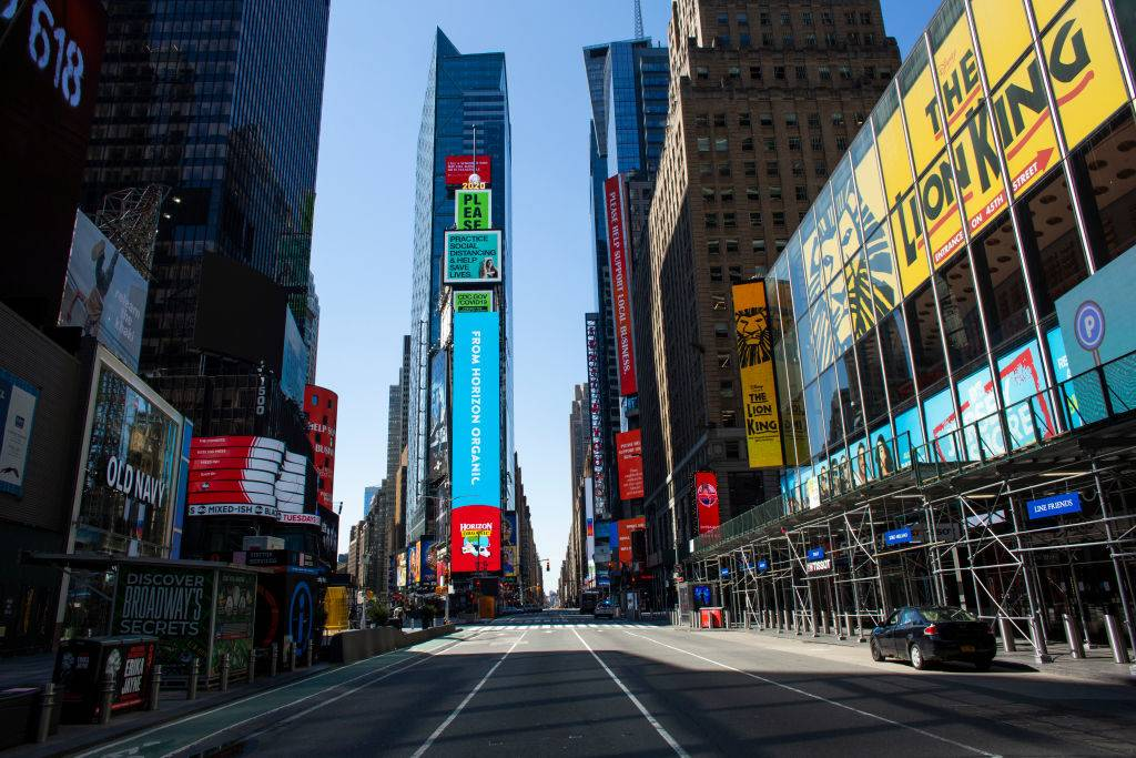 times square left empty during the day