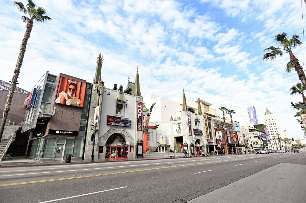 the empty street of the hollywood walk of fame