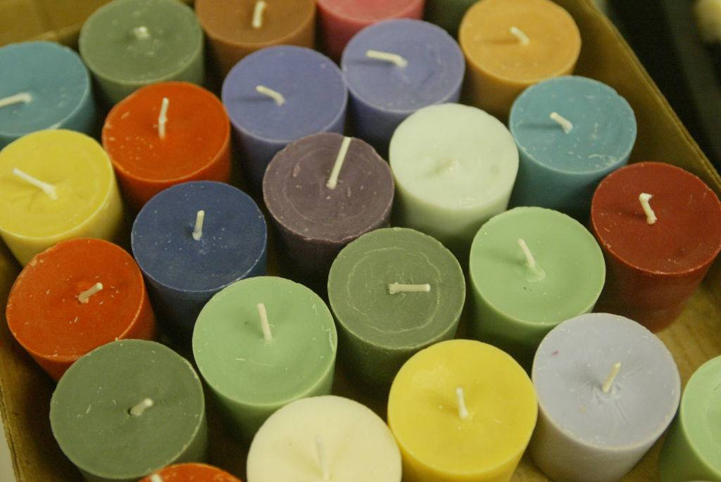 colorful candles in a box