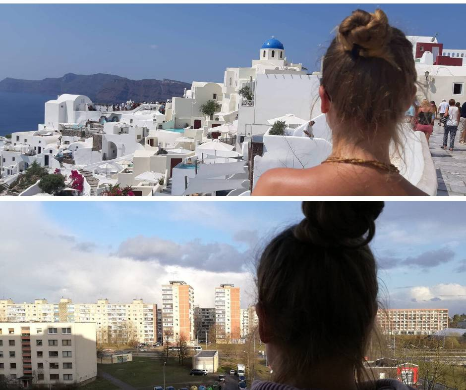 woman standing with view of santorini vs. her hometown