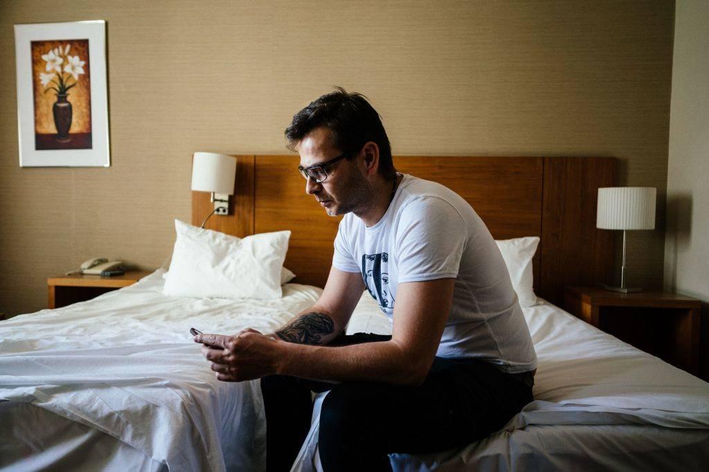 man in hotel