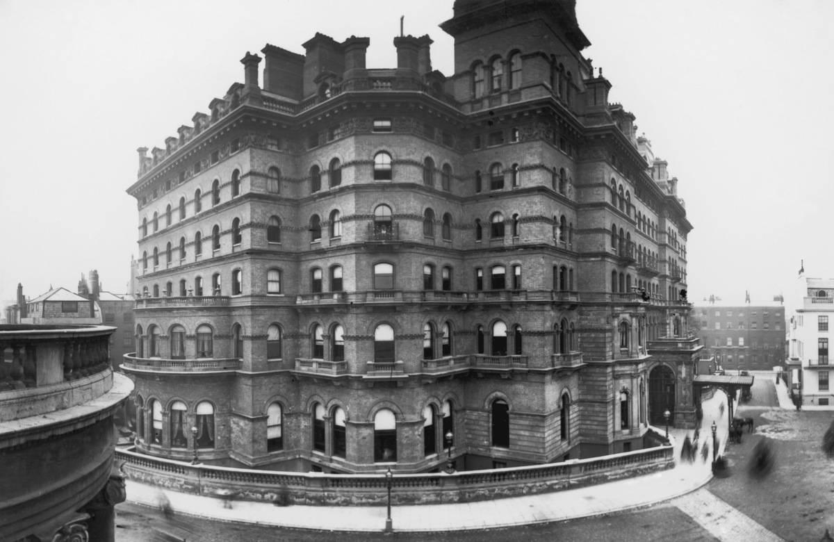The prestigious Langham Hotel in Portland Place, London, circa 1870
