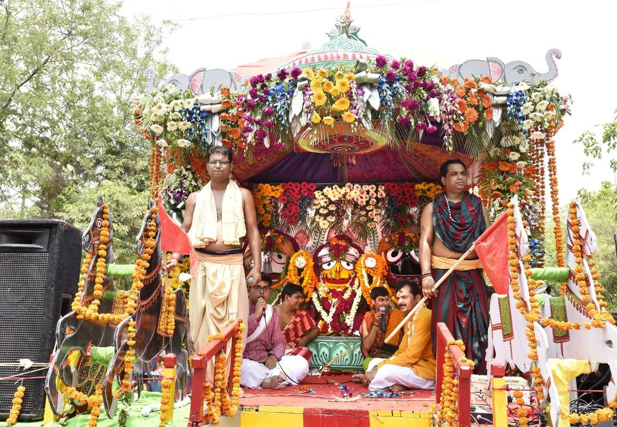 Devotees of Lord Krishna bring out a float in India.