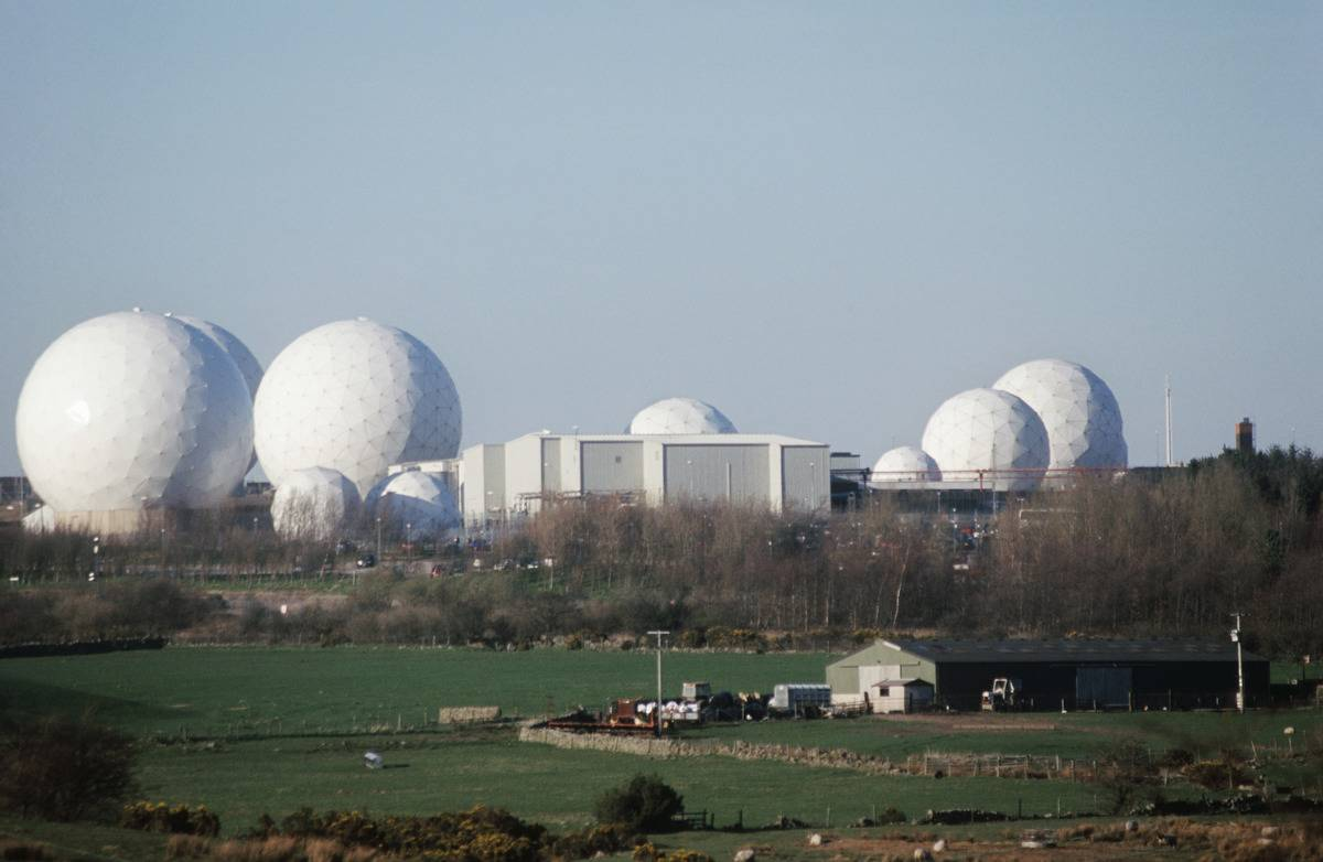 Enclosed listening radar domes at Menwith Hill