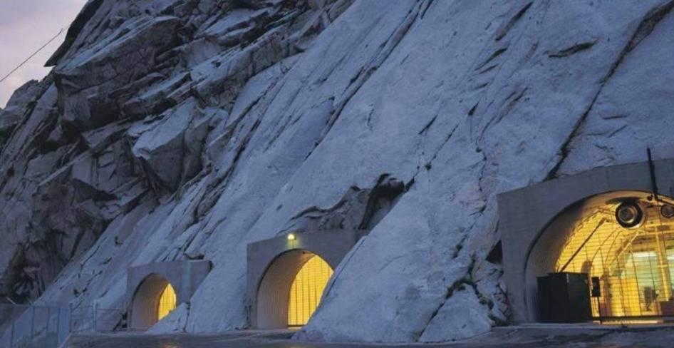 doors to vault on mountain face