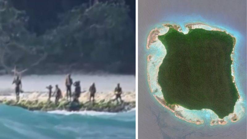 tribes people on beach and photo of whole island