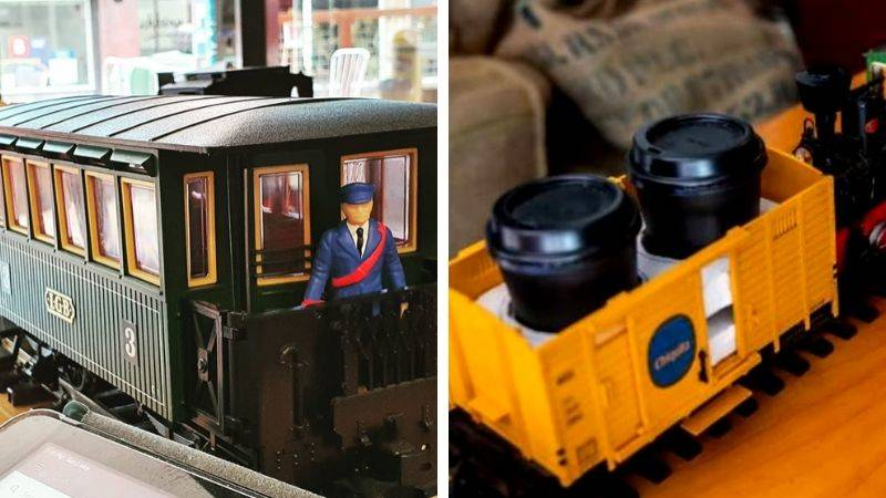 miniture train carries little cups of espresso