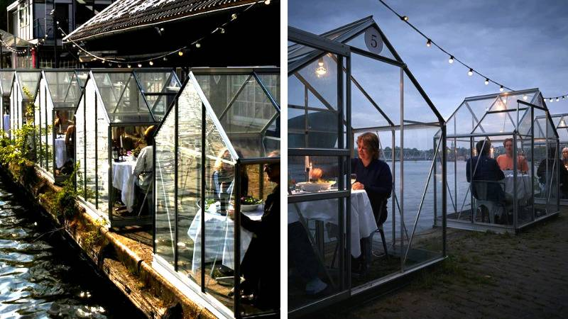 outdoor dining area with tables encased in mini greenhouses