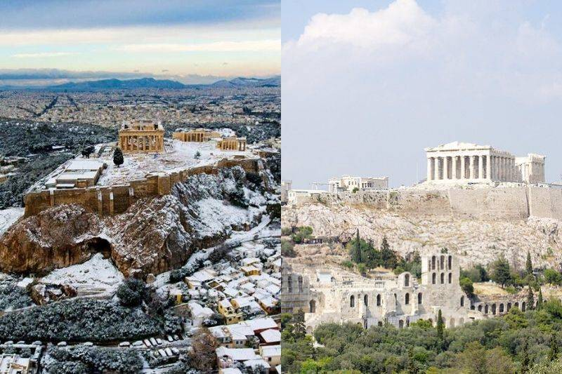 acropolis with snow and without