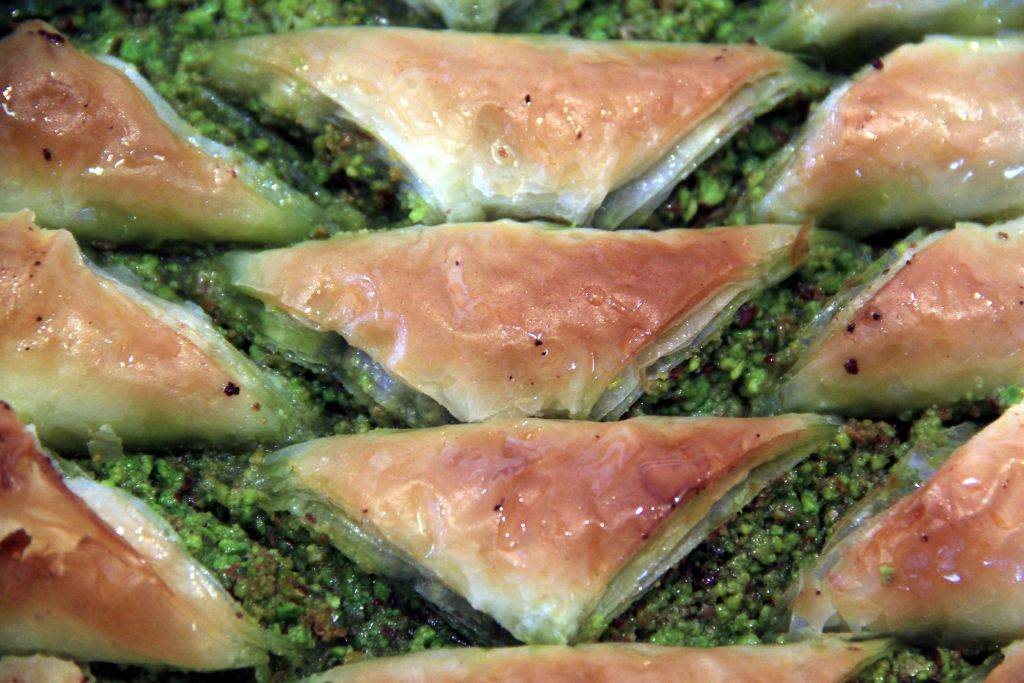 baklava filled with chopped walnuts and pistachios
