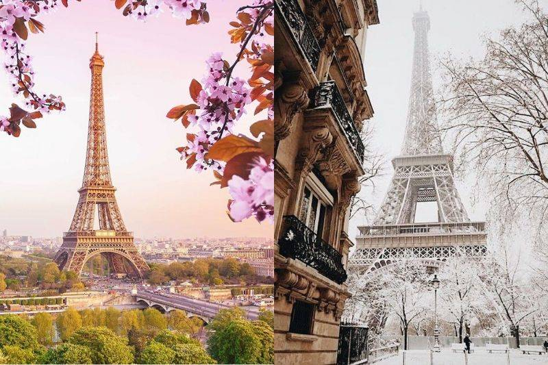 eiffel tower spring and winter