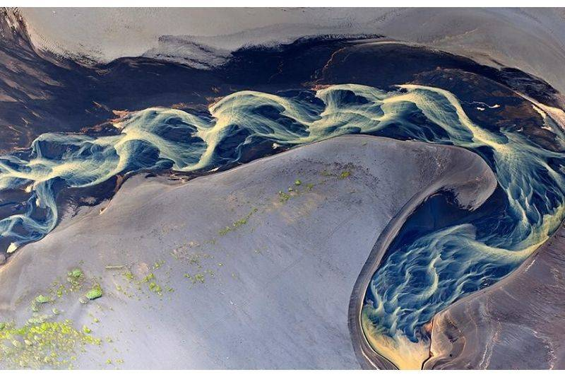 iceland volcanic rivers aerial shot