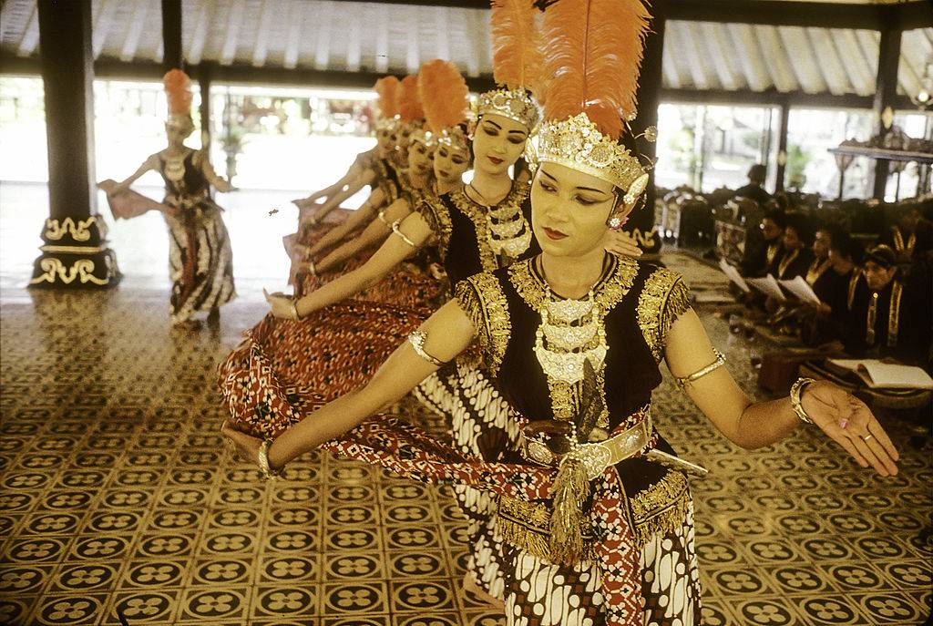 Female palace court dancers perform the ritual dance Bedhaya Semang in Java, Indonesia