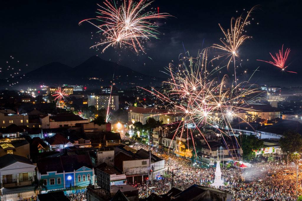 Fireworks illuminate the city's skyline in Indonesia