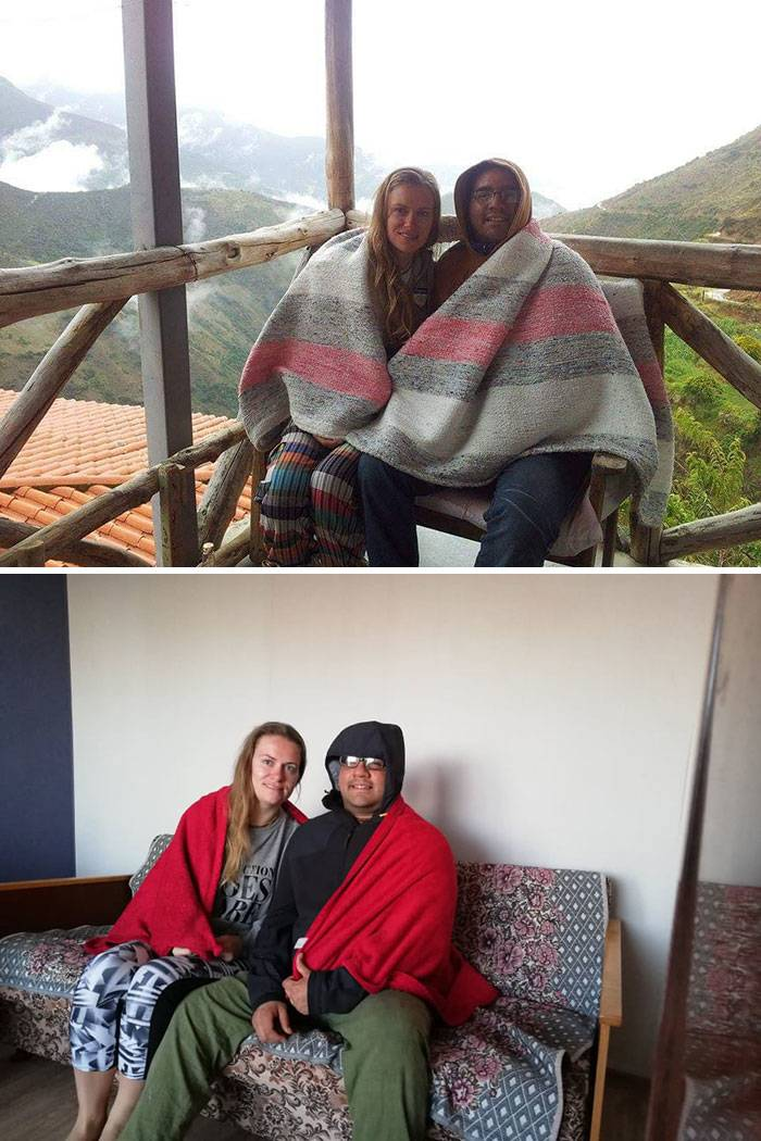 people cuddled under blanket in mountains vs. at home