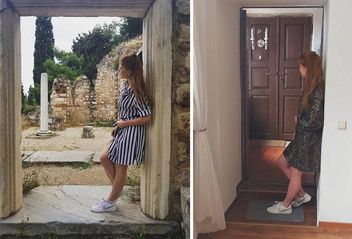 woman in classic doorway vs. one at home