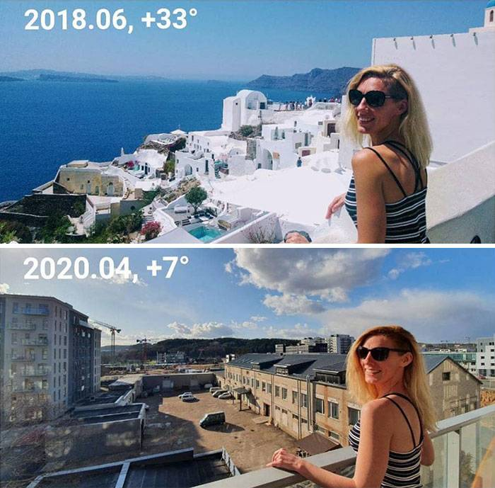 woman posing on balcony in santorini in warm weather vs. home in cold