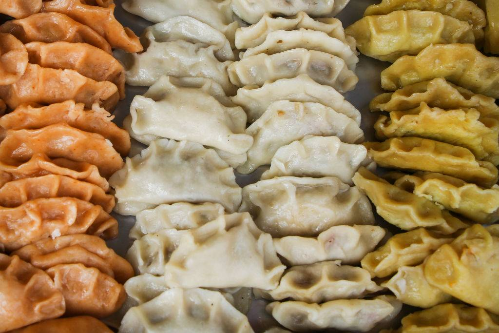 various flavors of pierogi dumplings displayed
