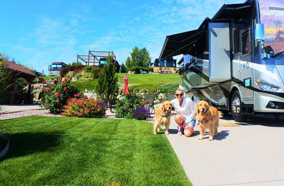 a woman with two golden retrievers outside an rv