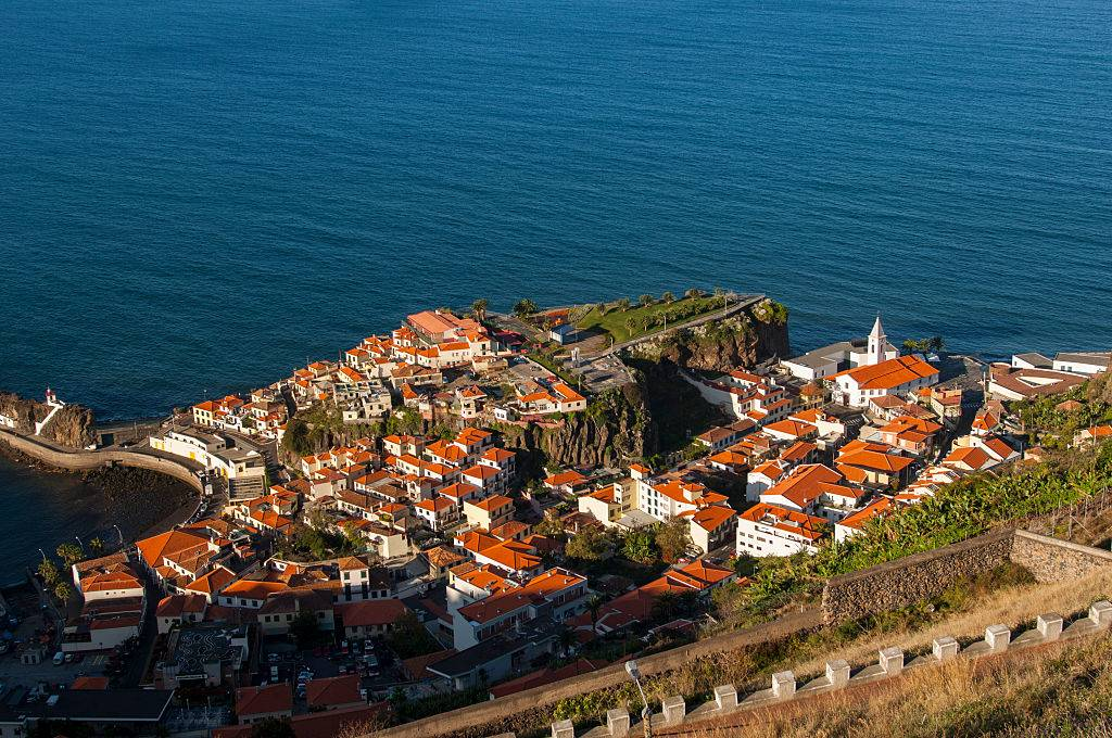 View of a small village along the south coast on the Portuguese island of Madeira