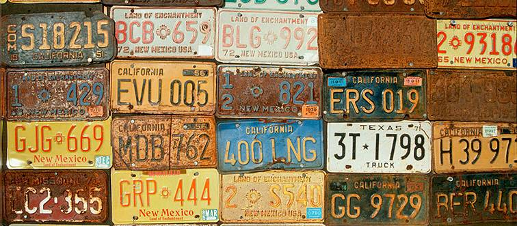 rusted and old license plates
