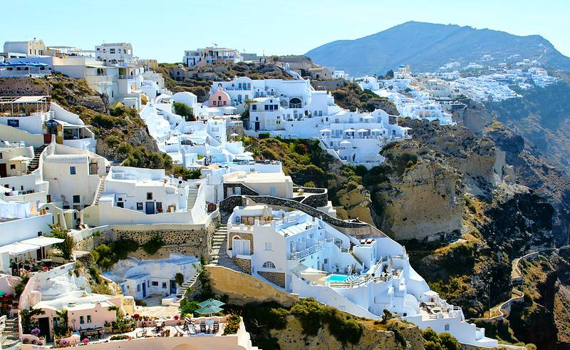 landscape shot of santorini greece during day