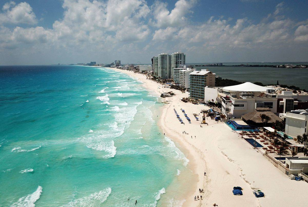 Aerial view of an almost empty beach in Cancun