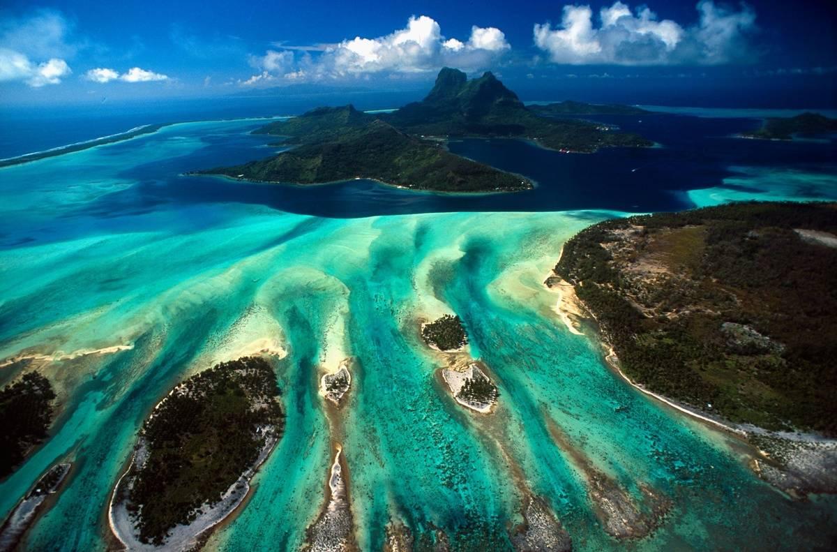 An aerial View of Bora Bora