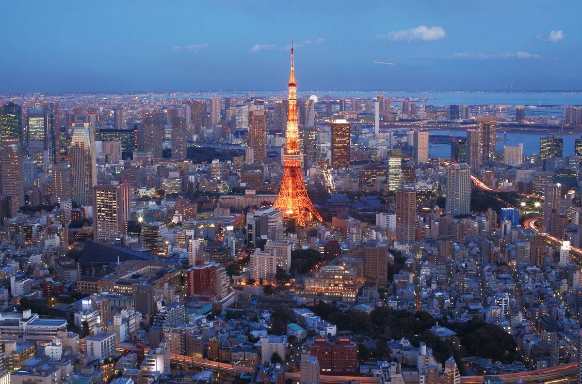A general view of Tokyo Tower and the surrounding area