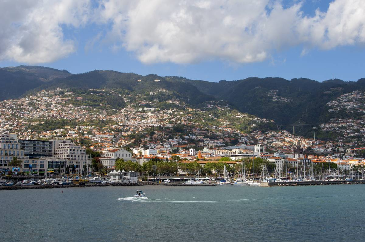 View of city in Madeira from the water
