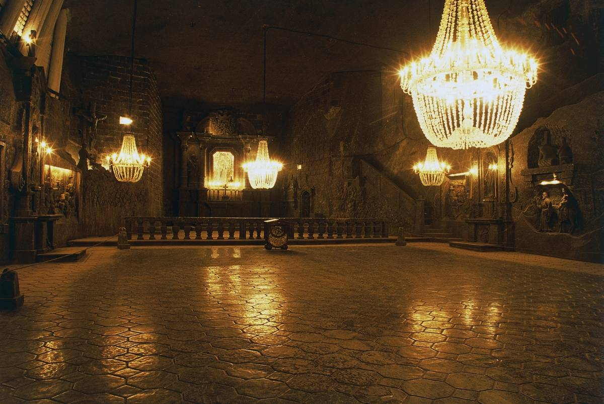 The Chapel of St Kinga in the cathedral carved out of the rock salt in Wieliczka salt mine