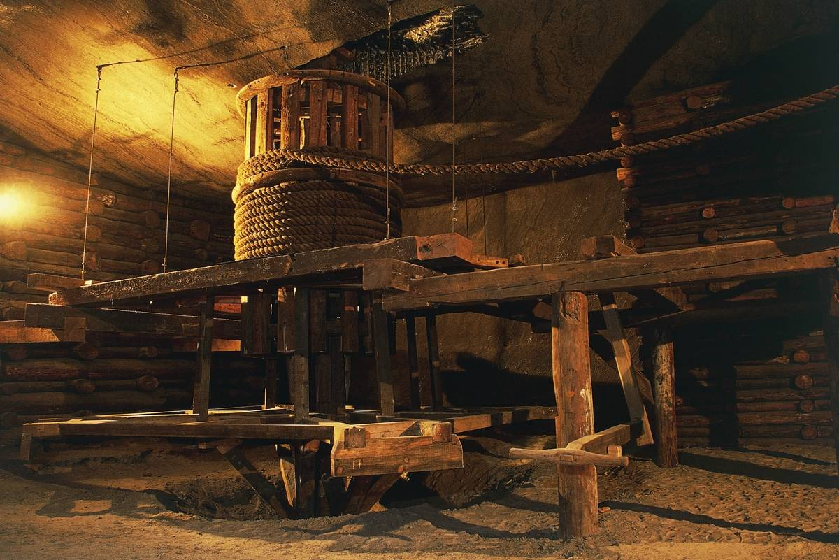 Horse-powered winch hoist, old Wieliczka salt mine