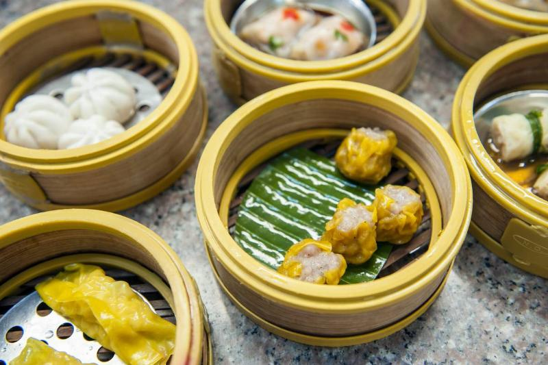 Baskets of dim sum, a traditional breakfast