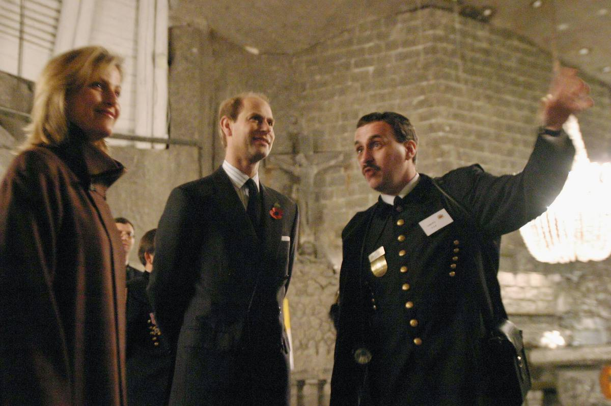 Prince Edward, the Earl of Wessex, and Sophie,the Countess of Wessex visit the Wieliczka Salt Mine