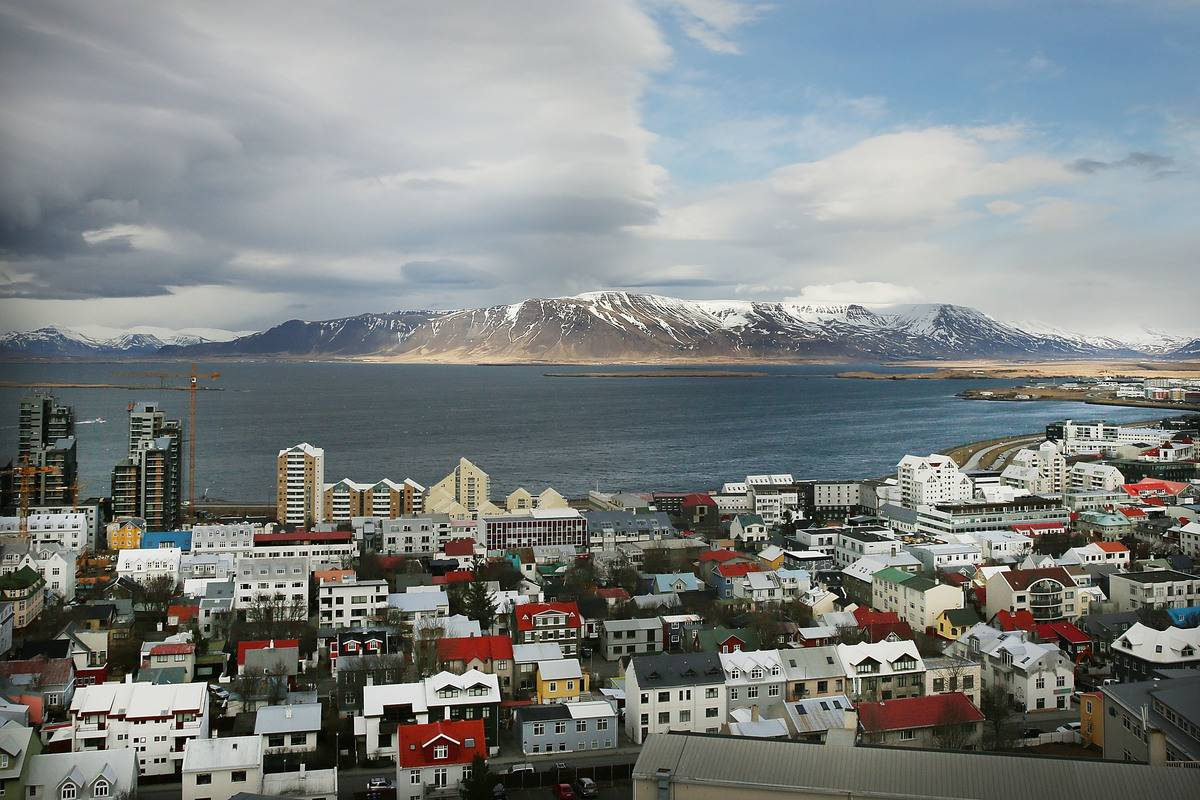 Downtown Reykjavik sits in the afternoon light
