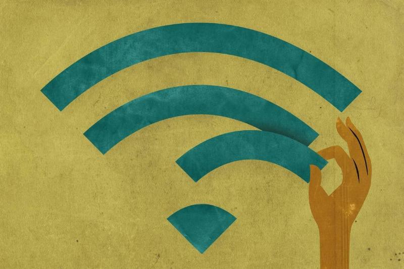 A hand stealing a bar of wi-fi access
