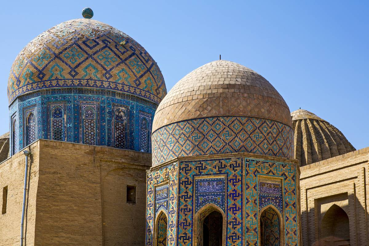dome-topped buildings in uzbekistan
