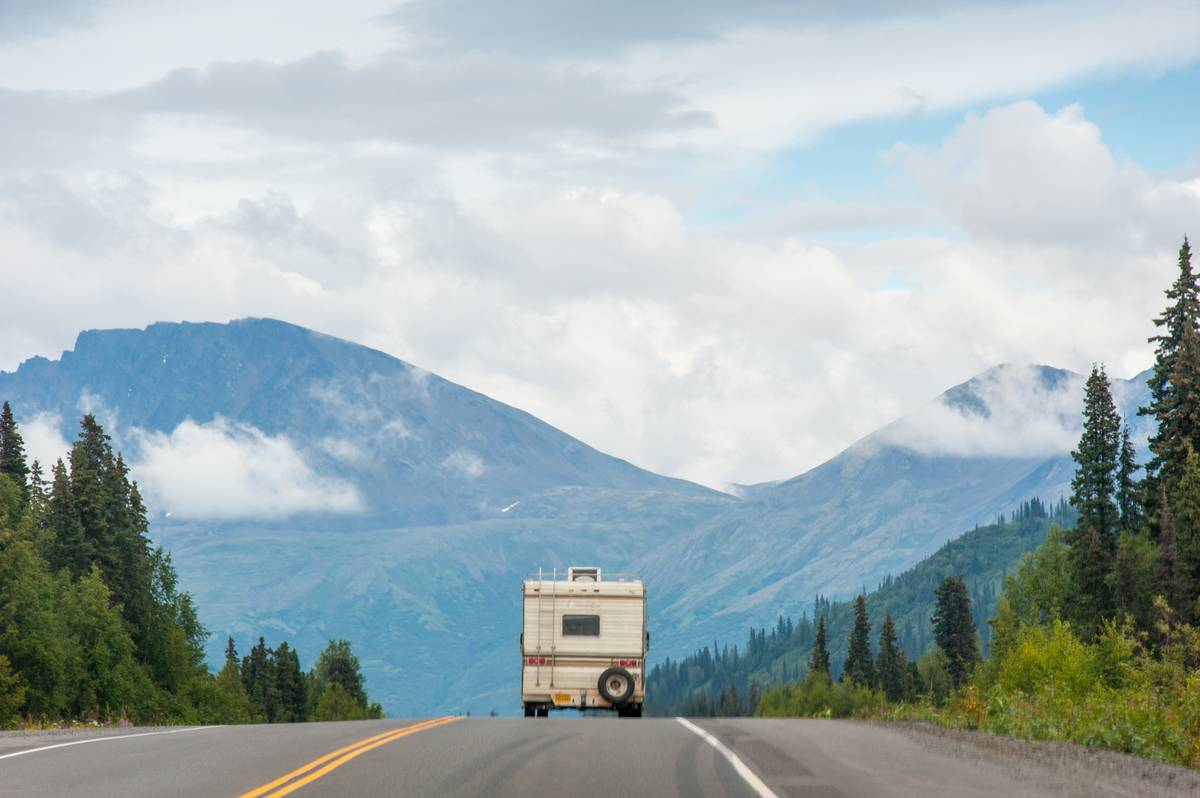RV driving down Parks Highway, Alaska