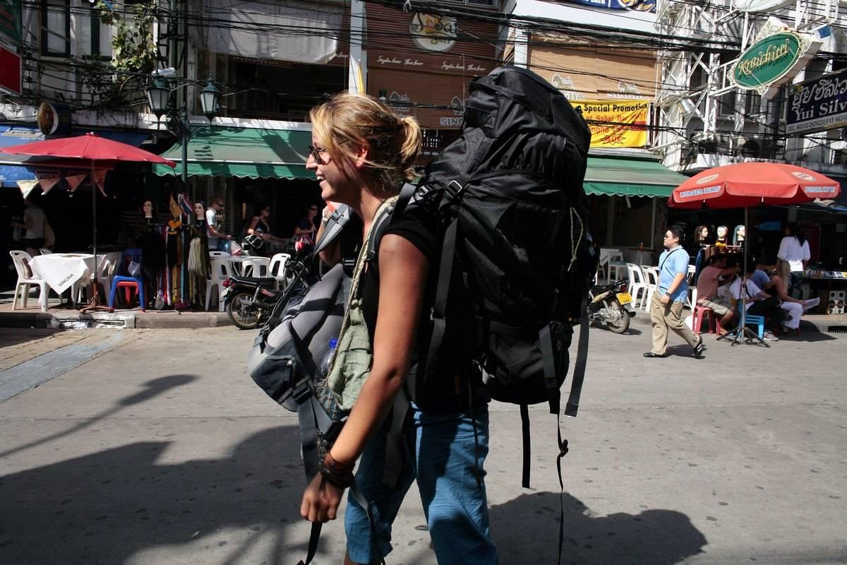 A backpacker on a street in Bangkok