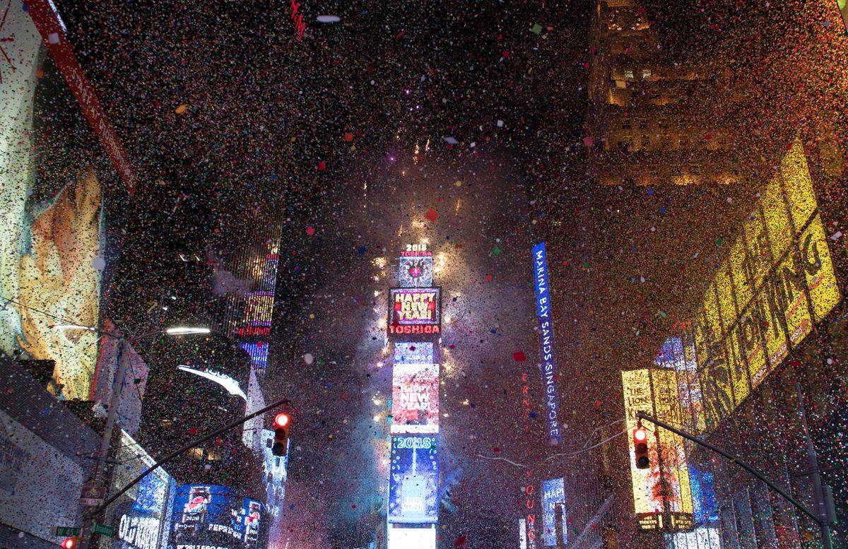 The ball drops to enter in the new year during New Year's Eve celebrations in Times Square