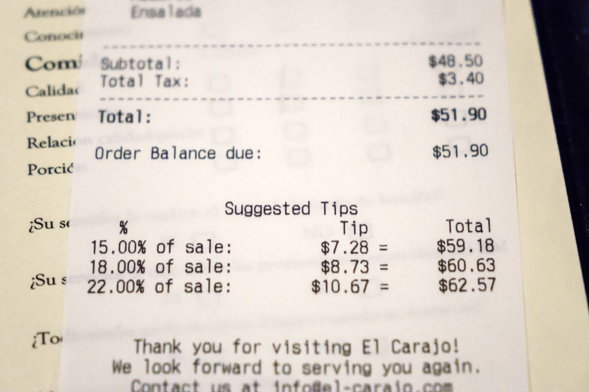 An itemized bill with tip suggestions