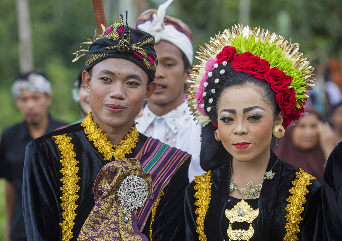 Indonesian bride and groom at traditional wedding