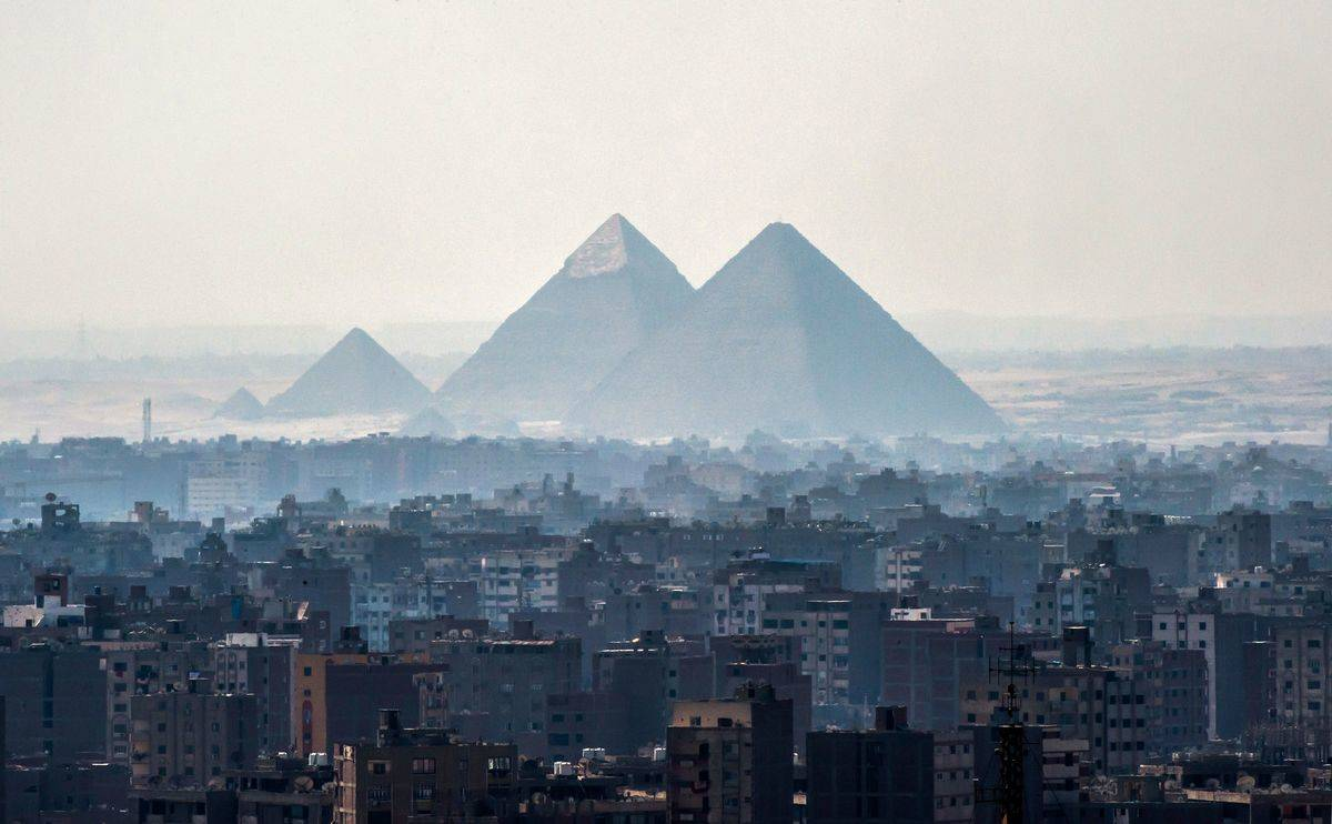 Pyramids of Giza on the southwestern outskirts of the Egyptian capital Cairo