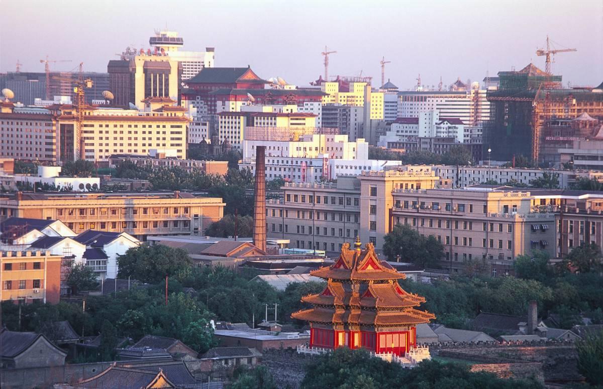 Corner tower of the Forbidden City with surrounding buildings, Beijing