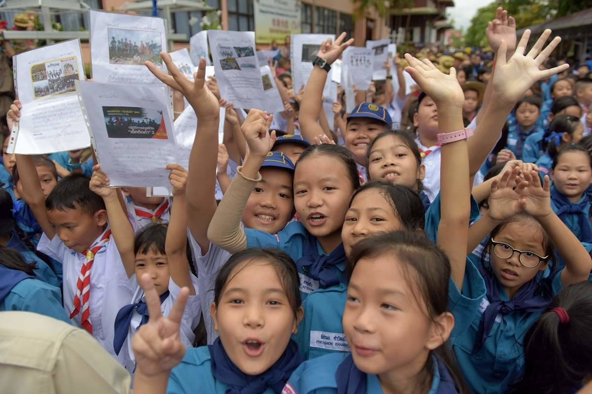 Thai students smile