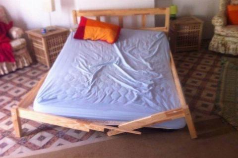 broken bed frame in host room