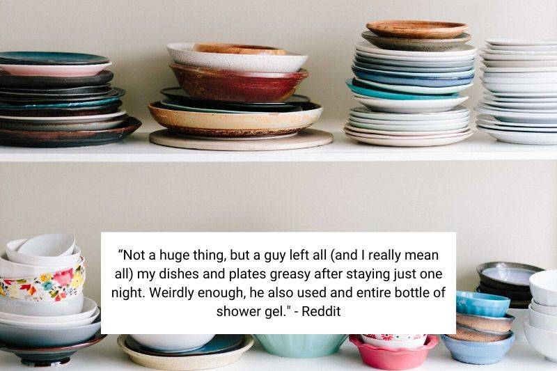 dirty dishes in airbnb