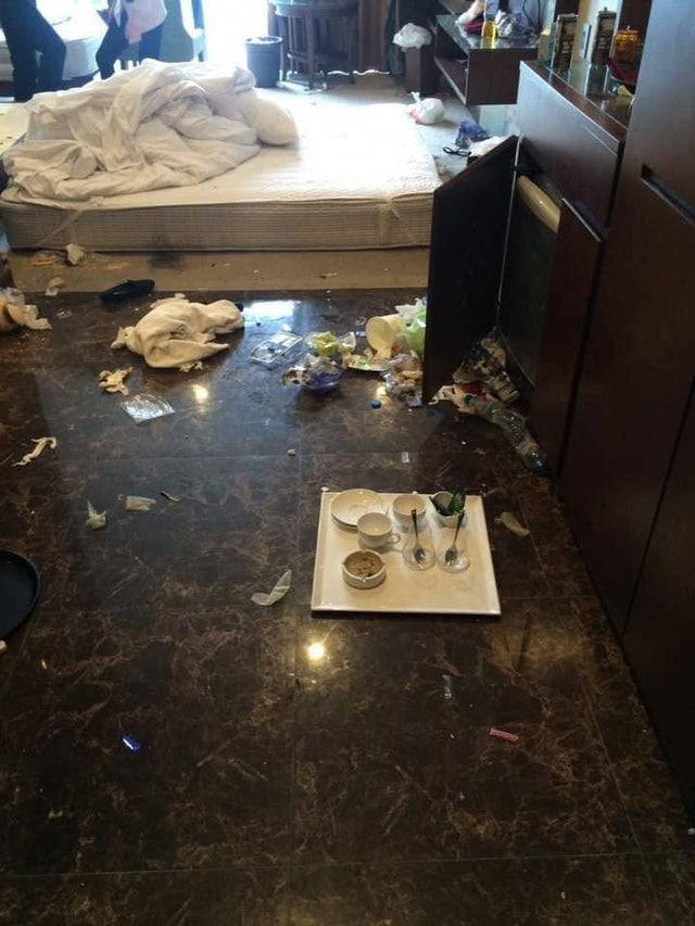 people who trashed hotel room