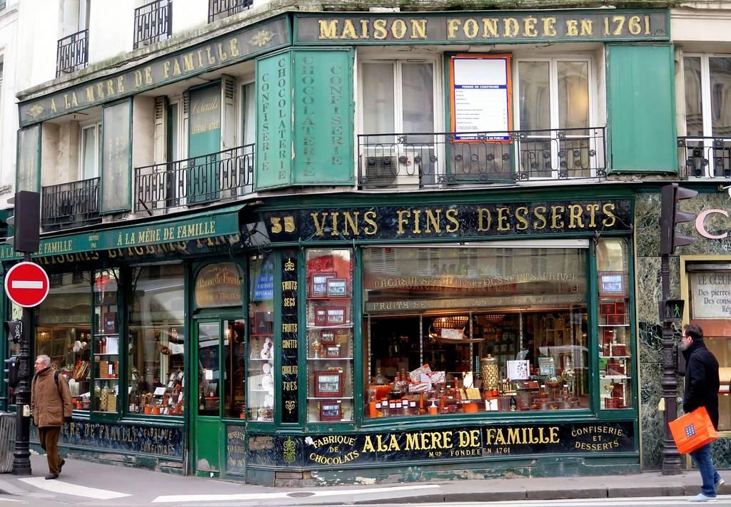 the outside of a chocolate store called À la Mère de Famille